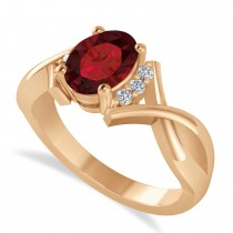 Oval Cut Garnet & Diamond Engagement Ring With Split Shank 14k Rose Gold (1.69ct)