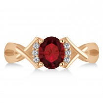 Oval Cut Garnet & Diamond Engagement Ring With Split Shank 14k Rose Gold (1.69ct)