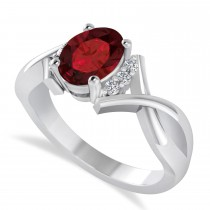 Oval Cut Garnet & Diamond Engagement Ring With Split Shank 14k White Gold (1.69ct)