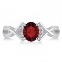Oval Cut Garnet & Diamond Engagement Ring With Split Shank 14k White Gold (1.69ct)