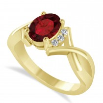Oval Cut Garnet & Diamond Engagement Ring With Split Shank 14k Yellow Gold (1.69ct)
