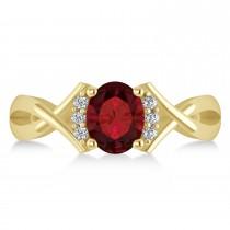 Oval Cut Garnet & Diamond Engagement Ring With Split Shank 14k Yellow Gold (1.69ct)