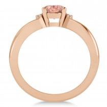 Oval Cut Morganite & Diamond Engagement Ring With Split Shank 14k Rose Gold (1.69ct)