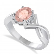 Oval Cut Morganite & Diamond Engagement Ring With Split Shank 14k White Gold (1.69ct)