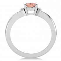 Oval Cut Morganite & Diamond Engagement Ring With Split Shank 14k White Gold (1.69ct)|escape