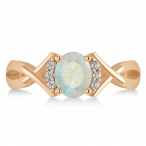 Oval Cut Opal & Diamond Engagement Ring With Split Shank 14k Rose Gold (1.69ct)