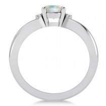Oval Cut Opal & Diamond Engagement Ring With Split Shank 14k White Gold (1.69ct)|escape