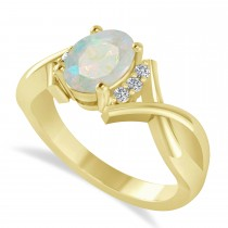 Oval Cut Opal & Diamond Engagement Ring With Split Shank 14k Yellow Gold (1.69ct)