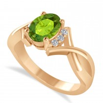 Oval Cut Peridot & Diamond Engagement Ring With Split Shank 14k Rose Gold (1.69ct)