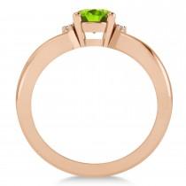 Oval Cut Peridot & Diamond Engagement Ring With Split Shank 14k Rose Gold (1.69ct)