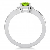 Oval Cut Peridot & Diamond Engagement Ring With Split Shank 14k White Gold (1.69ct)