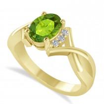 Oval Cut Peridot & Diamond Engagement Ring With Split Shank 14k Yellow Gold (1.69ct)