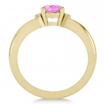 Oval Cut Pink Sapphire & Diamond Engagement Ring With Split Shank 14k Yellow Gold (1.69ct)