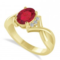 Oval Cut Ruby & Diamond Engagement Ring With Split Shank 14k Yellow Gold (1.69ct)