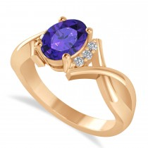 Oval Cut Tanzanite & Diamond Engagement Ring With Split Shank 14k Rose Gold (1.69ct)
