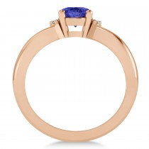Oval Cut Tanzanite & Diamond Engagement Ring With Split Shank 14k Rose Gold (1.69ct)