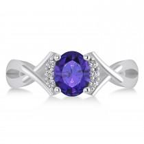 Oval Cut Tanzanite & Diamond Engagement Ring With Split Shank 14k White Gold (1.69ct)