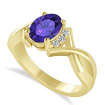 Oval Cut Tanzanite & Diamond Engagement Ring With Split Shank 14k Yellow Gold (1.69ct)
