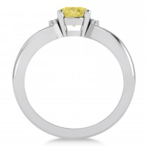 Oval Cut Yellow & White Diamond Engagement Ring With Split Shank 14k White Gold (1.59 ct)