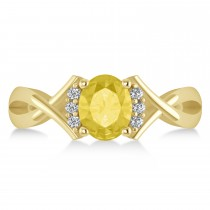 Oval Cut Yellow & White Diamond Engagement Ring With Split Shank 14k Yellow Gold (1.59 ct)