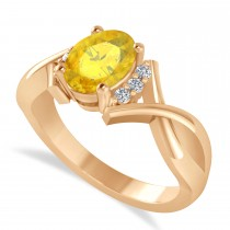 Oval Cut Yellow Sapphire & Diamond Engagement Ring With Split Shank 14k Rose Gold (1.69ct)