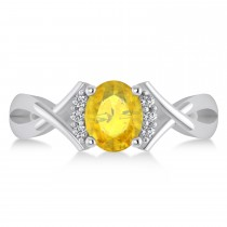 Oval Cut Yellow Sapphire & Diamond Engagement Ring With Split Shank 14k White Gold (1.69ct)