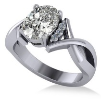 Twisted Oval Diamond Engagement Ring 14k White Gold (2.09ct)
