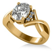 Twisted Oval Diamond Engagement Ring 14k Yellow Gold (2.09ct)