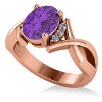 Twisted Oval Amesthyst Engagement Ring 14k Rose Gold (1.84ct)