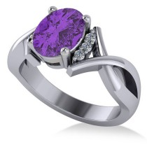Twisted Oval Amethyst Engagement Ring 14k White Gold (1.84ct)