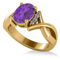 Twisted Oval Amethyst Engagement Ring 14k Yellow Gold (1.84ct)