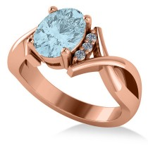Twisted Oval Aquamarine Engagement Ring 14k Rose Gold (1.84ct)