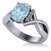 Twisted Oval Aquamarine Engagement Ring 14k White Gold (1.84ct)