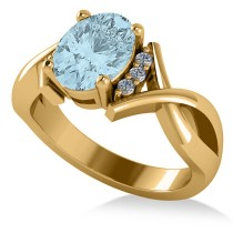 Twisted Oval Aquamarine Engagement Ring 14k Yellow Gold (1.84ct)