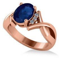 Twisted Oval Blue Sapphire Engagement Ring 14k Rose Gold (2.29ct)