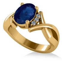 Twisted Oval Blue Sapphire Engagement Ring 14k Yellow Gold (2.29ct)