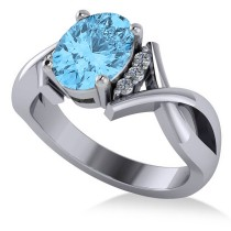 Twisted Oval Blue Topaz Engagement Ring 14k White Gold (2.59ct)