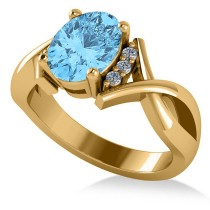 Twisted Oval Blue Topaz Engagement Ring 14k Yellow Gold (2.59ct)