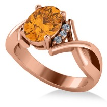 Twisted Oval Citrine Engagement Ring 14k Rose Gold (1.84ct)