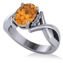 Twisted Oval Citrine Engagement Ring 14k White Gold (1.84ct)