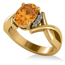 Twisted Oval Citrine Engagement Ring 14k Yellow Gold (1.84ct)