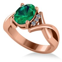 Twisted Oval Emerald Engagement Ring 14k Rose Gold (1.99ct)