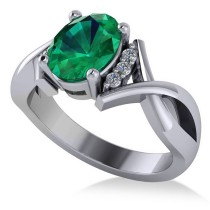 Twisted Oval Emerald Engagement Ring 14k White Gold (1.99ct)