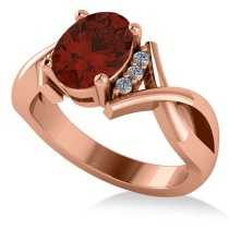 Twisted Oval Garnet Engagement Ring 14k Rose Gold (2.19ct)