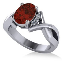 Twisted Oval Garnet Engagement Ring 14k White Gold (2.19ct)