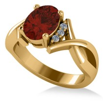 Twisted Oval Garnet Engagement Ring 14k Yellow Gold (2.19ct)