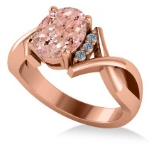 Twisted Oval Pink Morganite Engagement Ring 14k Rose Gold (2.69ct)