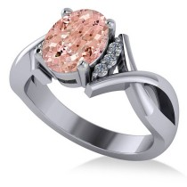 Twisted Oval Pink Morganite Engagement Ring 14k White Gold (2.69ct)