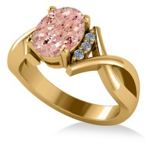 Twisted Oval Pink Morganite Engagement Ring 14k Yellow Gold (2.69ct)