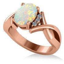 Twisted Oval Opal Engagement Ring 14k Rose Gold (1.19ct)